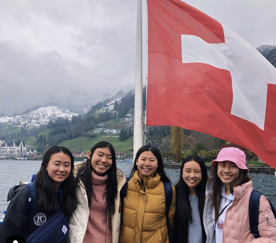 DBHS+juniors+%28from+left+to+right%29+Debbie+Yim%2C+Lauren+Chen%2C+Valerie+Hui%2C+Emily+Hong+and+Eryn+Lau+visited+Switzerland+as+part+of+their+travels+through+Europe.