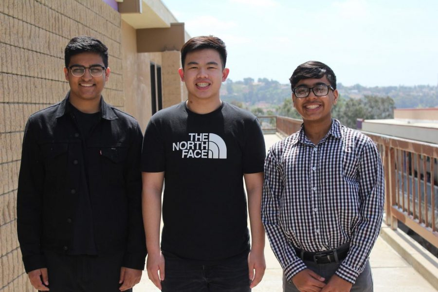 From left, Rohun Sharma, Mark Tan and Harris Daud are officers of Finance club.
