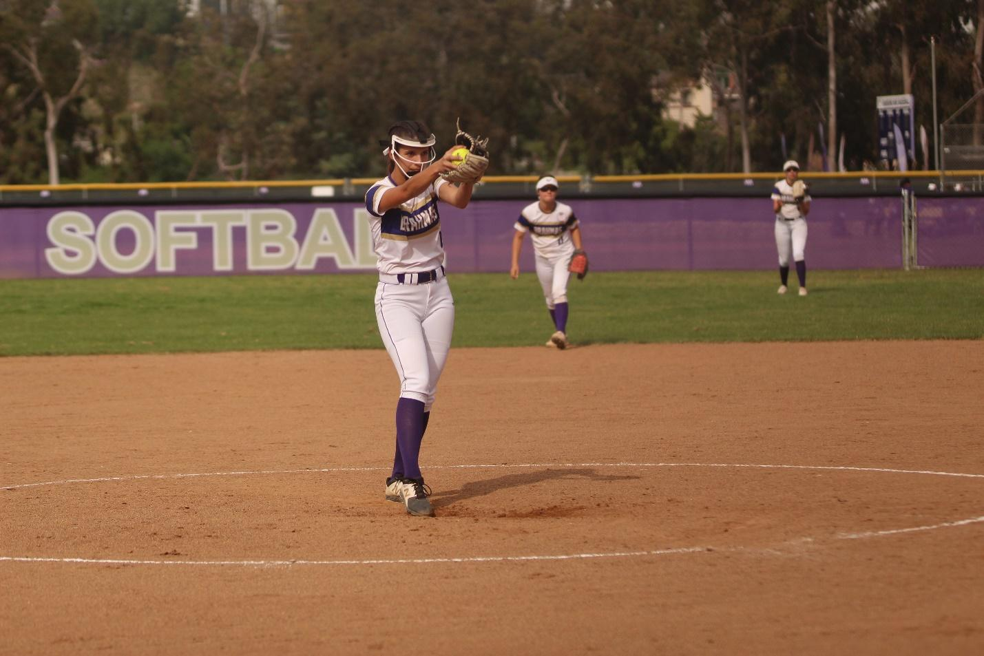 Sophomore Miranda Montes pitches for DBHS in the 5-1 loss to Chino.