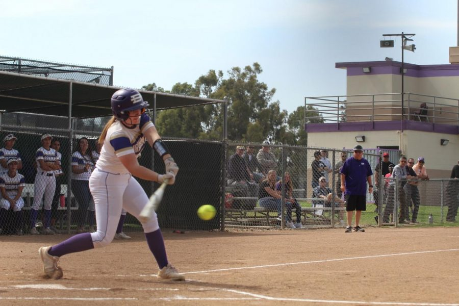 Emily+Ruhl+hits+a+low+pitch+during+the+team%E2%80%99s+first+round+CIF+playoff+game.%0A%0A