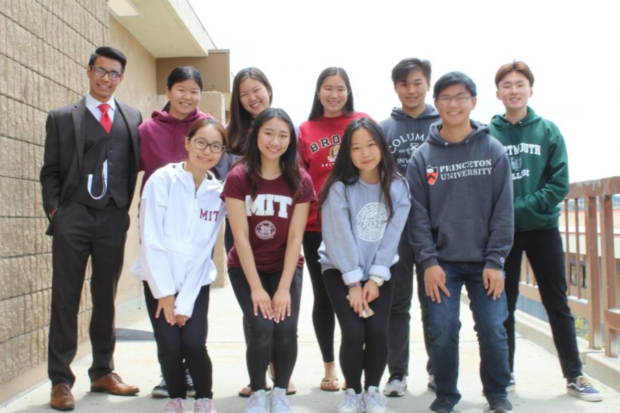 Among those going to renowned schools, include top row from left, Hamzah Daud, Alice Wang, Amy Miyahara, Samantha Hong, Andrew Chang and Austin Hyun; bottom row from left, Devany Du, Karyn Real, Christine Zhou and Darren Chiu.