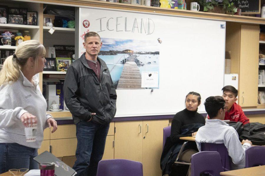 DBHS head coach Latitia Thomas, left, and forensic science teacher Ken Carlson advise the mock trial team.