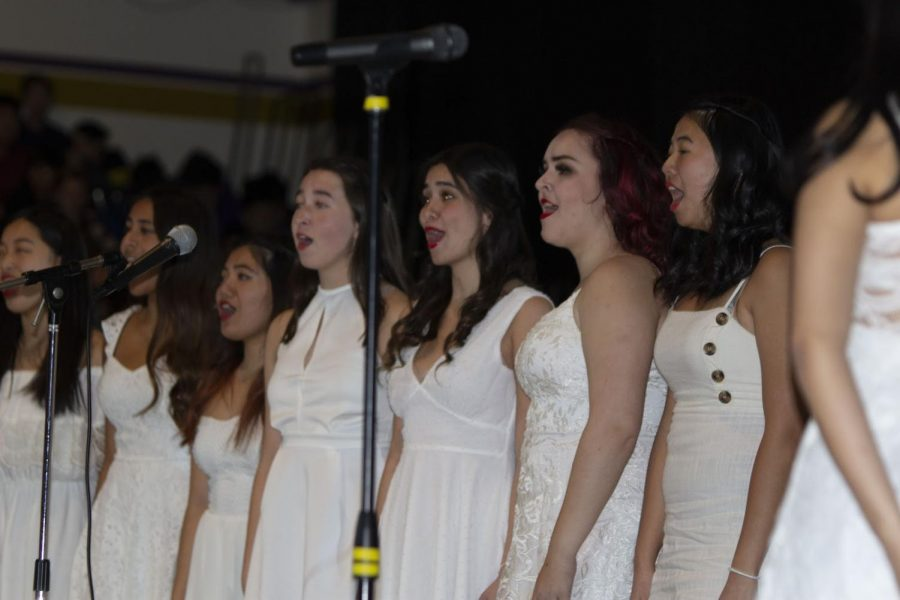 "Diamond Bar High School senior choir girls performed ""Winter Wonderland"" during the winter sports rally held on Dec. 6."