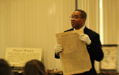 Black Voice Foundation co-founder Hardy Brown spoke in the LINC on Feb.  20 and showed students many artifacts.