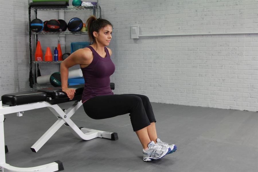 "Tricep dips are an isolation exercise that engages the triceps when the body ""dips"" down."
