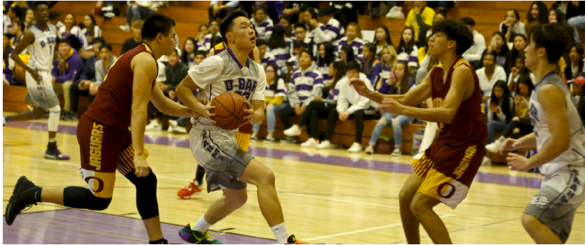 Sophomore Alex Kim drives into the lane looking to score in a matchup against Ontario High School last season.