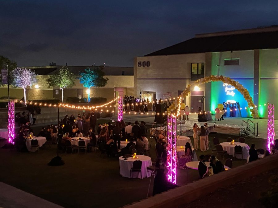 Prom was held outdoors with lights, music, backdrops and games on the artificial grass area next to the 800 Gym Building.