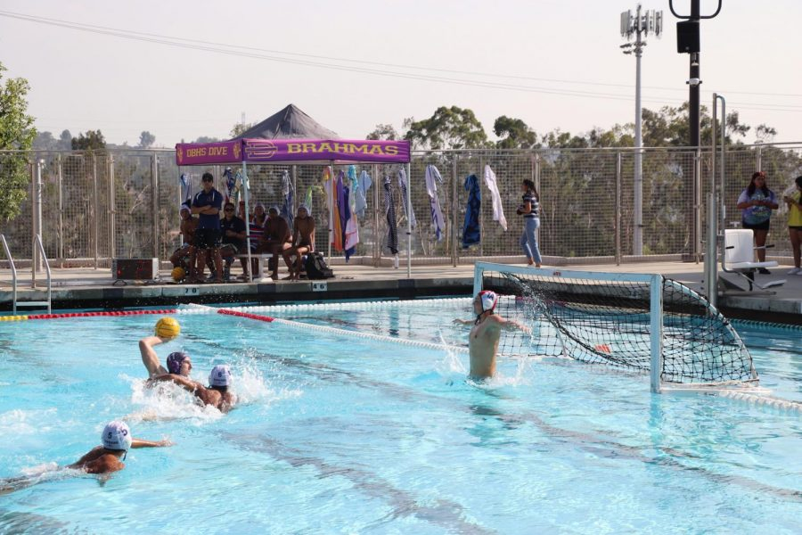 Senior Nicholas Murray dives in and catches the ball, preparing to score a point at home against Bonita High School.
