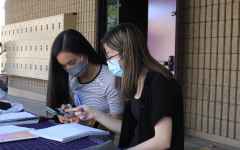 Alyssa Wu, who is among the students who take it upon themselves to tutor others, provides assistance to a peer in need.